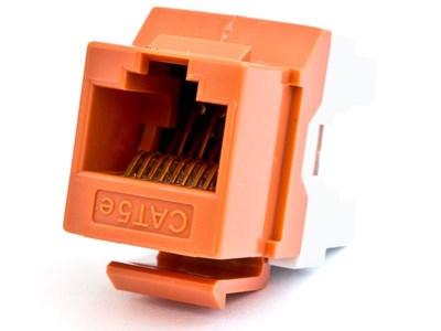 Picture of CAT5e Keystone Jack 180 Degree 110 UTP - Orange