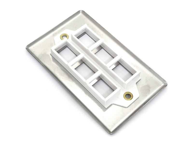 6 Port Stainless Steel Keystone Faceplate Computer Cable