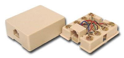 picture of surface mount box with screw terminals - rj45 - 8 conductor