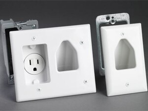 Picture of Recessed Wall Plate Remodeling Kit with Electrical Outlet - White