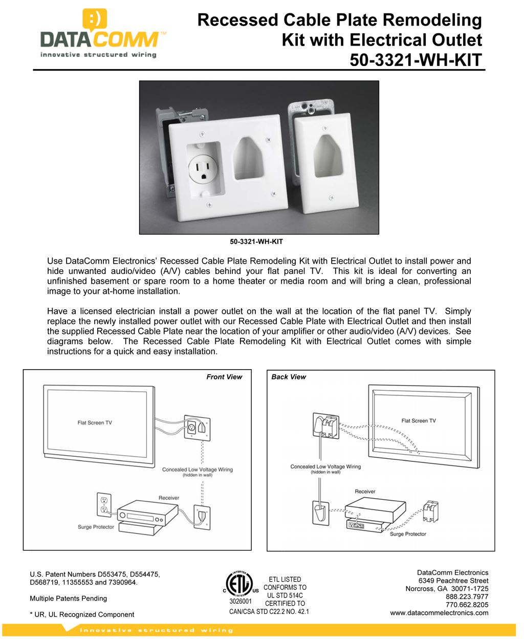 Recessed Wall Plate Remodeling Kit With Electrical Outlet White Av Wiring Plates Picture Of