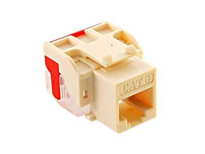 picture of cat 6 modular keystone jack - rj45 (8p8c) ez - almond