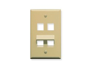 Picture of Faceplate - Bottom Angled - 4 Port Single Gang - Ivory