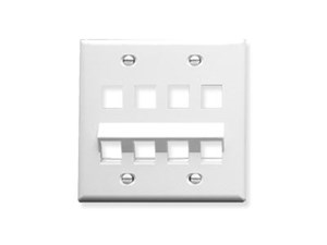 Picture of Faceplate - Bottom Angled - 8 Port Double Gang - White