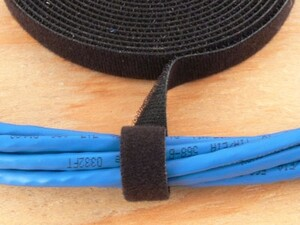 Picture of 1/2 Inch Continuous Black Hook and Loop Wrap - 5 Yards