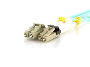 Picture of 20m Multimode Duplex Fiber Optic Patch Cable (50/125) OM3 Aqua - LC to Mini LC