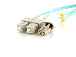 Picture of 50m Multimode Duplex Fiber Optic Patch Cable (50/125) OM3 Aqua - Mini LC to SC