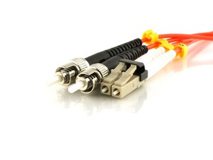 Picture of 5m Multimode Duplex Fiber Optic Patch Cable (50/125) - Mini LC to ST