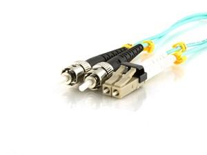 Picture of 50m Multimode Duplex Fiber Optic Patch Cable (50/125) OM3 Aqua - Mini LC to ST