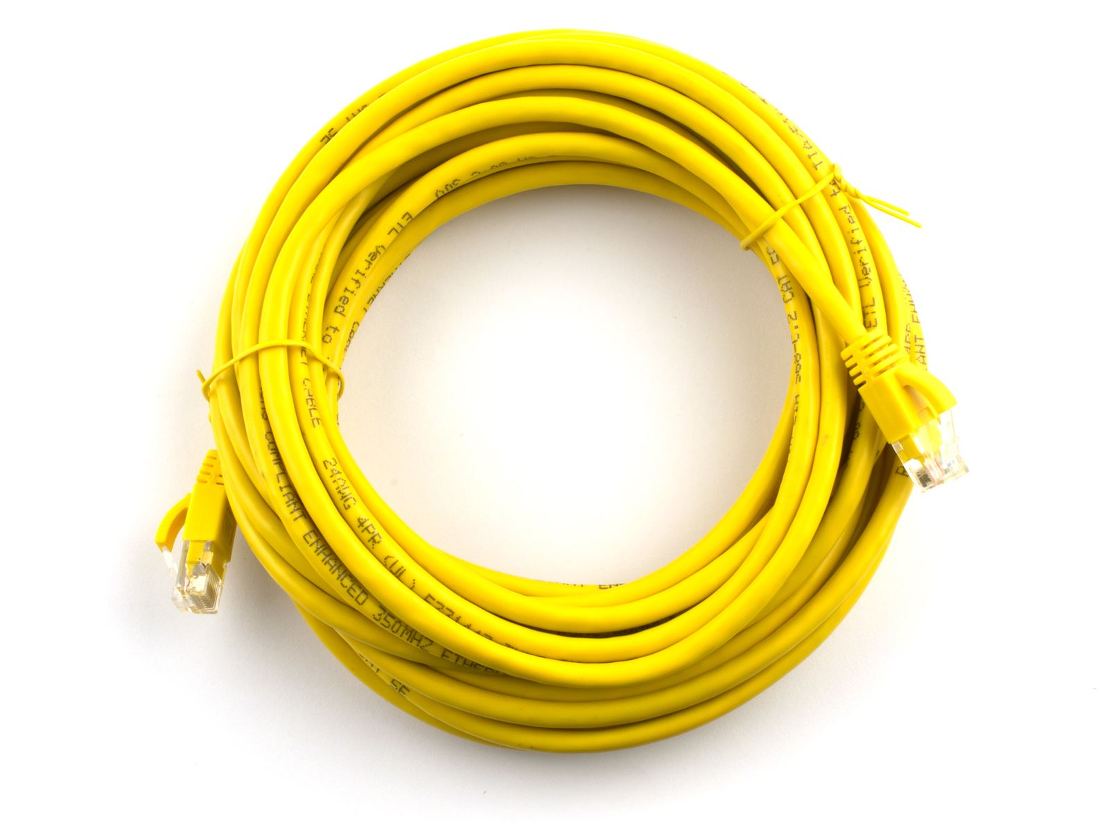 Booted Yellow Networx CAT5e Patch Cable 25 FT