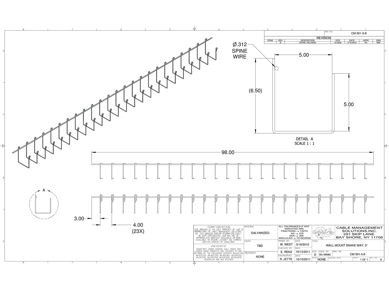 501 Series Wall Snake Cable Tray 5 Inch Wall Snake
