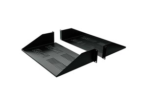 "Picture of 19"" Double-Sided Vented Divided Shelf, 2U, 25""D, Black"