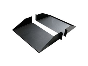 "Picture of 19"" Double-Sided Non-Vented Divided Shelf, 2U, 25""D, Black"