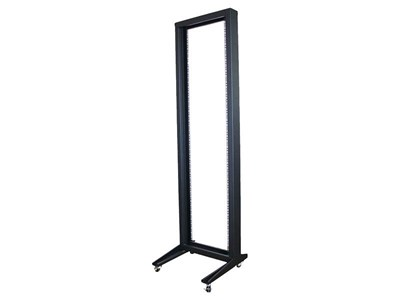 "Picture of 7Ft 2-Post 19"" Open Frame Steel Floor Rack W/Casters, 45U, Black"