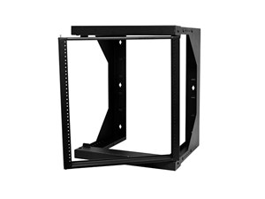 """Picture of 2Ft Swing-Out Open Frame Wall Rack, 18""""-26"""" Adjustable Depth, 12U, Black"""