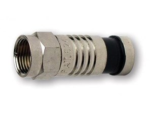 side view Platinum Tools Nickel Plated F RG59 Compression Connector