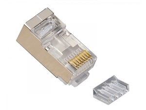 Picture of RJ45 (8P8C) Shielded Cat6 2 pcConnector w/ Liner, Round Solid, 3-Prong100/Jar