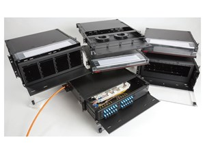 Picture of Fiber enclosure, rack mount, 1RU, 3 adapter plates, black