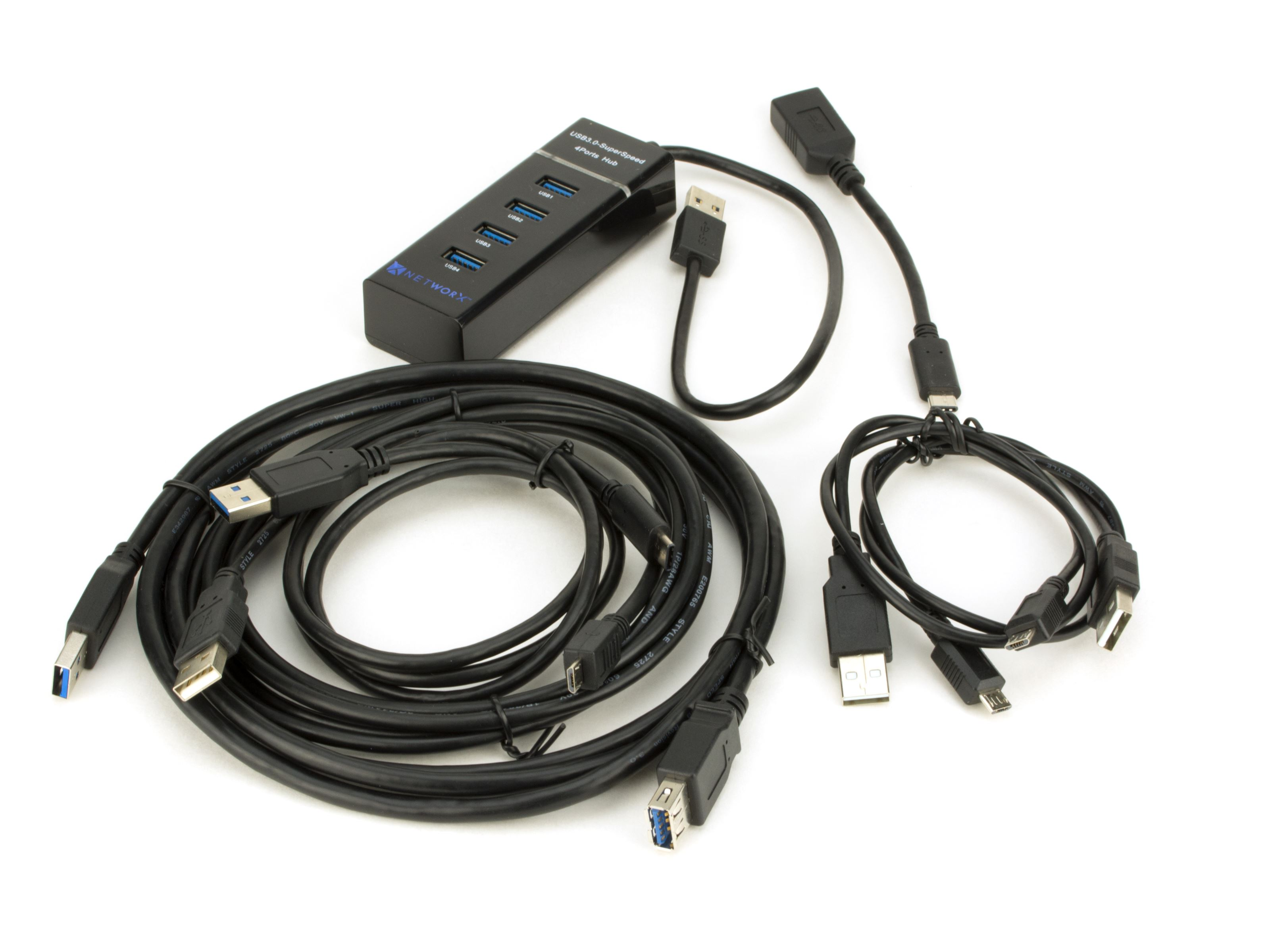 Kit - 4 Port USB 3.0 Hub w Extra Cables   Computer Cable Store