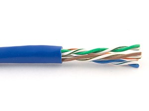 Picture of Cat5e 350Mhz Network Cable - Stranded, Blue, Riser (CMR) PVC - 1000 FT