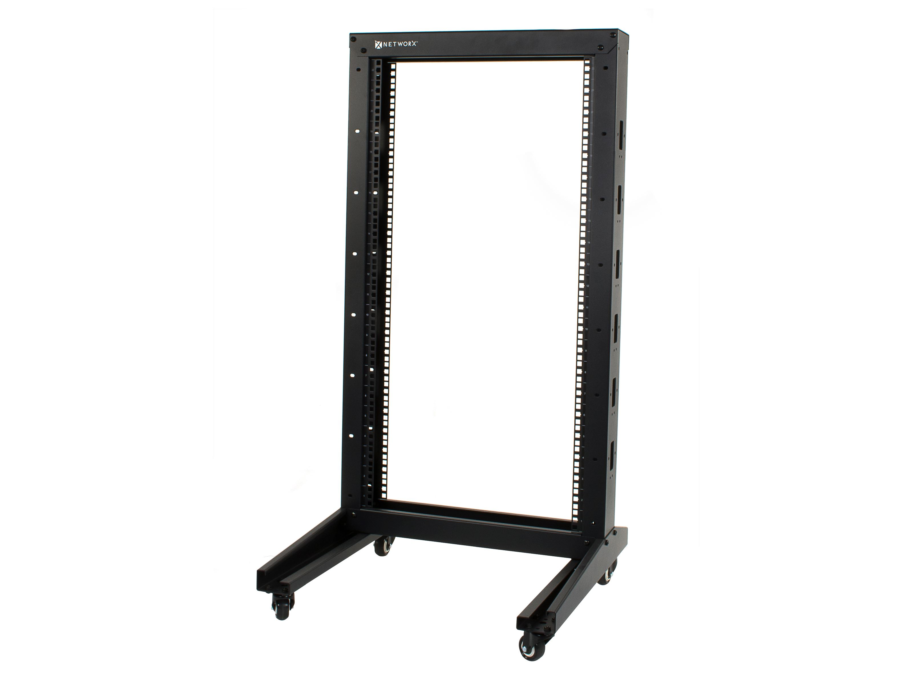 2 post free standing open frame network relay rack 22u for Free standing
