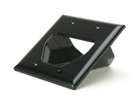 Picture of 2-Gang Recessed Low Voltage Cable Plate - Black
