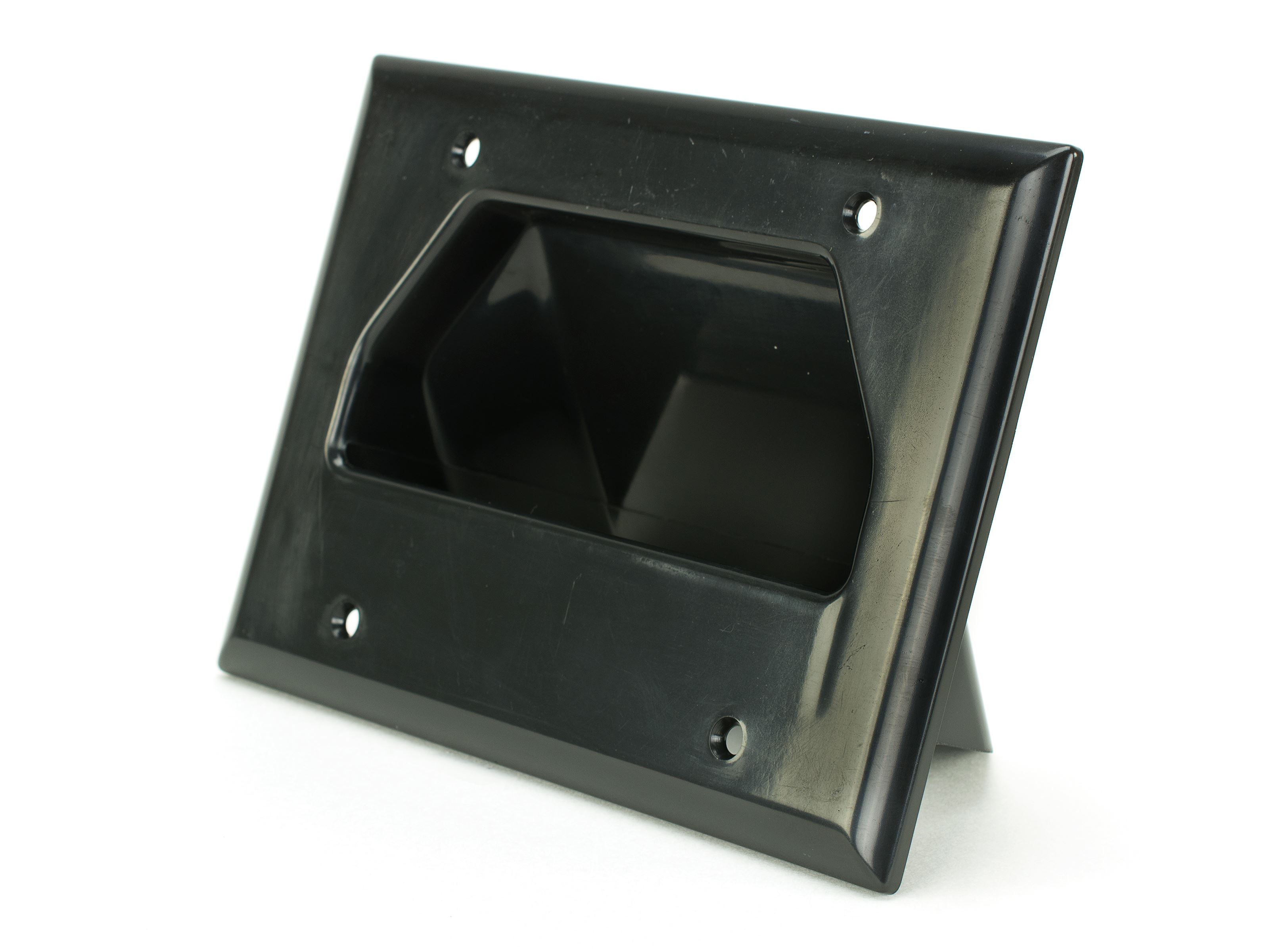 Recessed Wall Plate Scoop Black 3 Gang Computer Cable