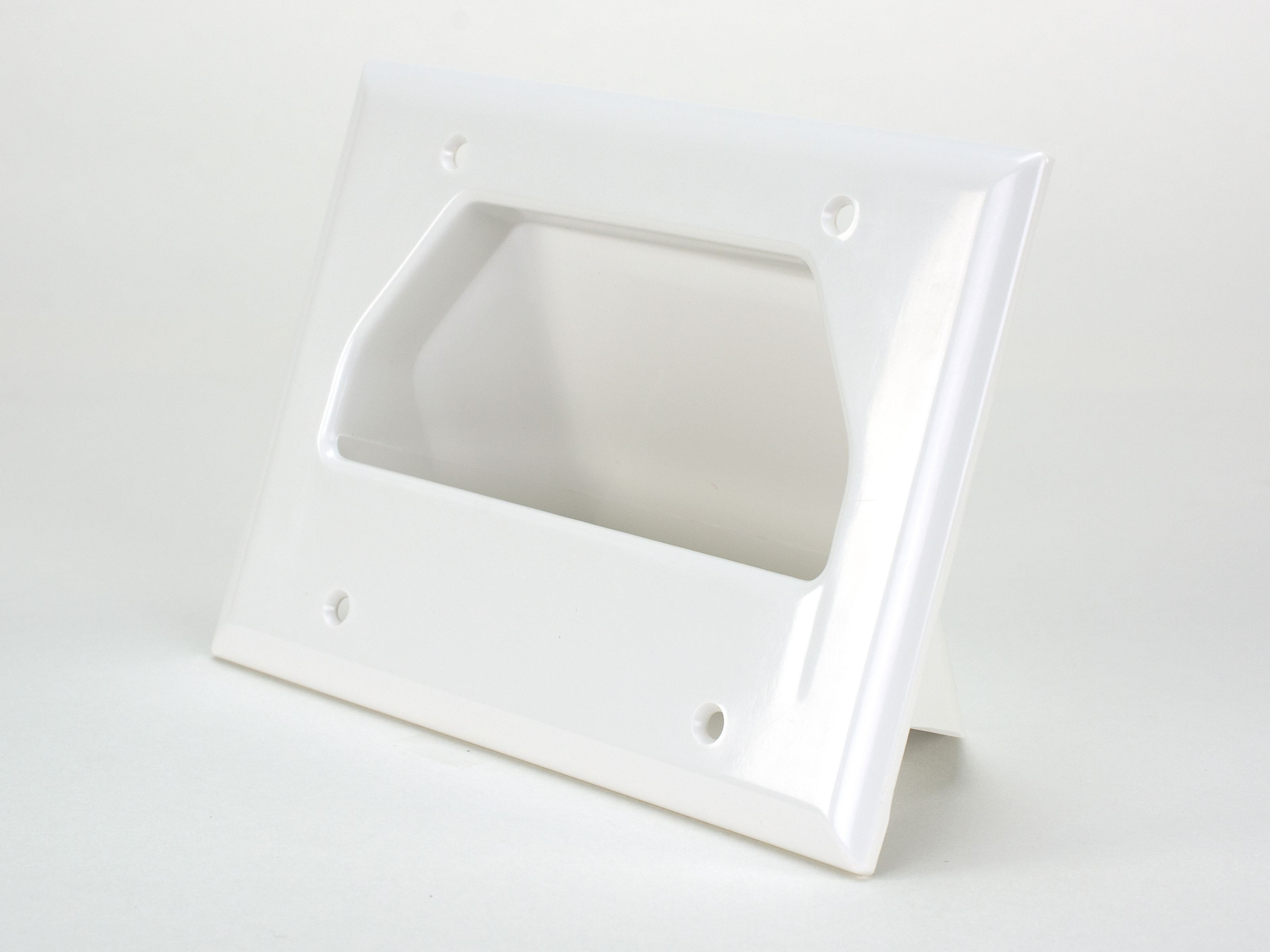 Recessed Wall Plate Scoop White 3 Gang Computer Cable