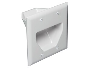 Picture of 2-Gang Recessed Low Voltage Cable Plate - White