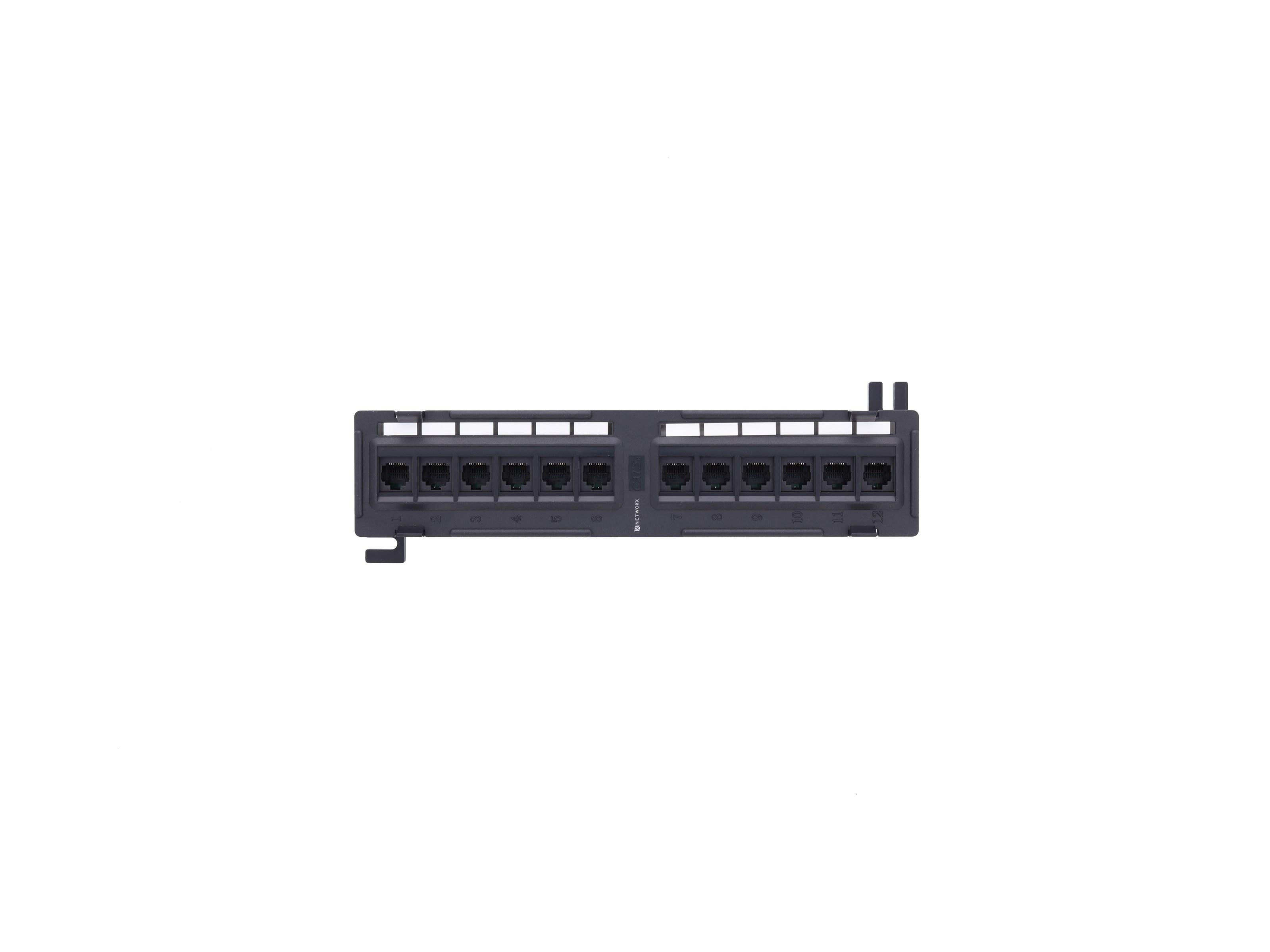 12 Ports CAT6 10/'/' Network Mini Patch Panel Wall Mount Rack Surface Bracket US