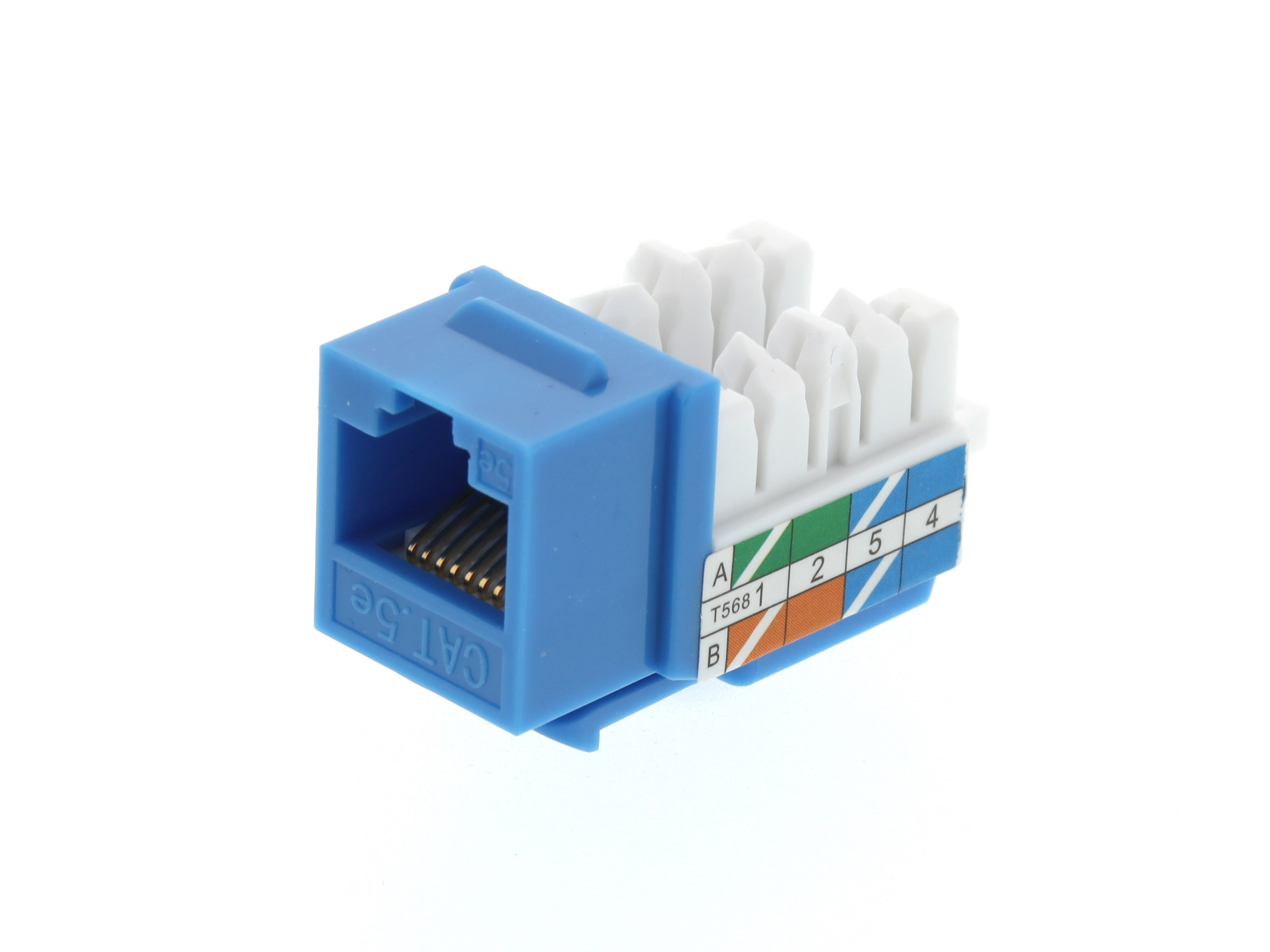 CAT5e Keystone Jack 90 Degree 110 UTP - Blue | Computer Cable Store