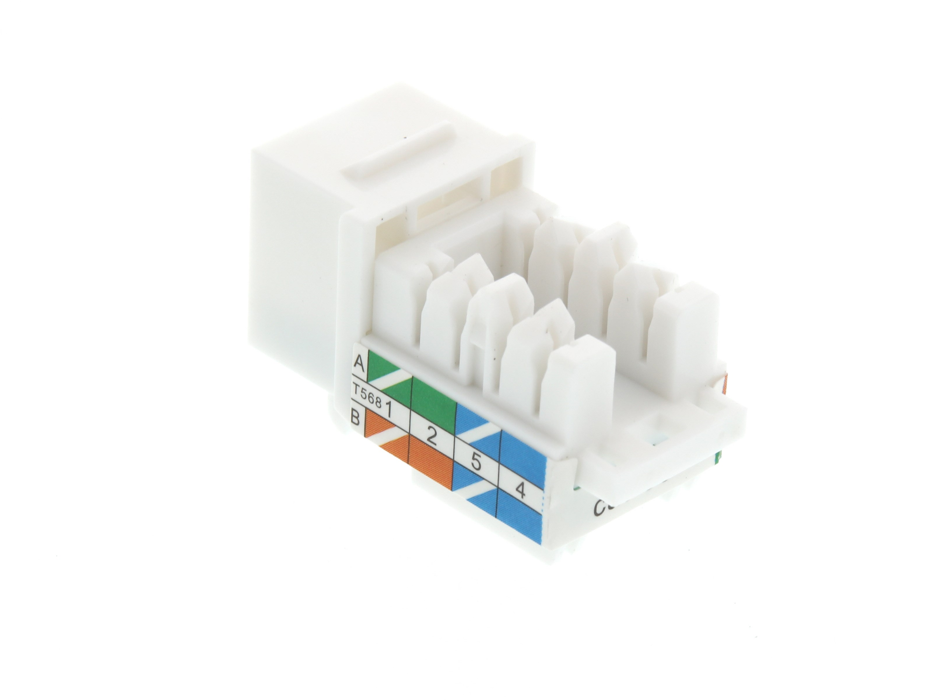 Cat5e Keystone Jack 90 Degree 110 Utp White Computer Cable Store Cat 5 Wiring Diagram Wall Prise Picture Of
