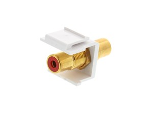 Picture of Feed Through Keystone Jack - RCA (Component / Composite) - White - Color Coded Red