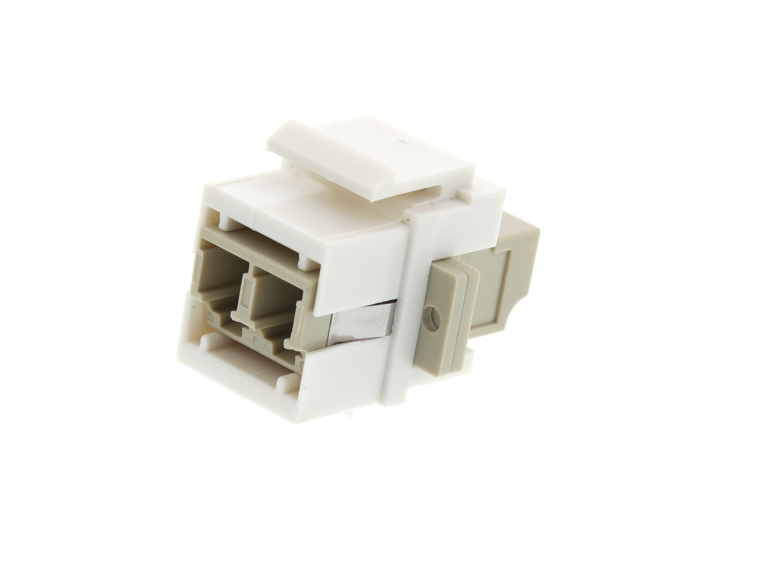 Fiber Optic Keystone Coupler - LC to LC Multimode Duplex - White