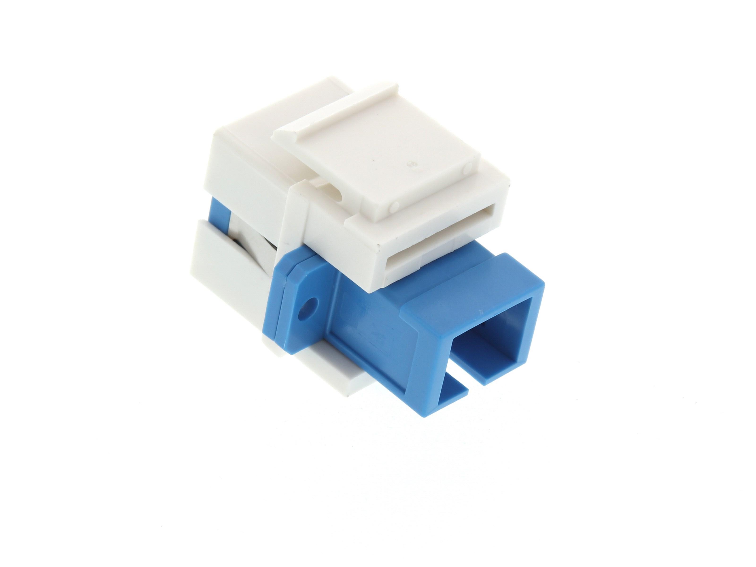 Fiber Optic Keystone Coupler Jack SC Simplex Singlemode APC White