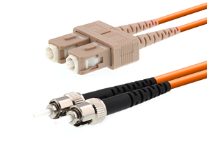 Picture of 30m Multimode Duplex Fiber Optic Patch Cable (50/125) - SC to ST