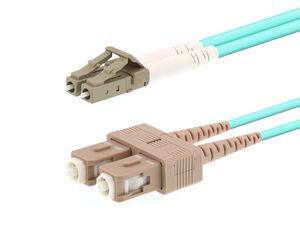 Picture of 40m Multimode Duplex Fiber Optic Patch Cable (50/125) OM3 Aqua - Laser Opt - LC to SC