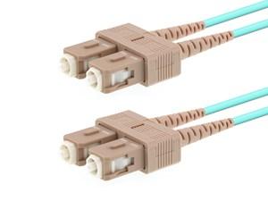 Picture of 2m Multimode Duplex Fiber Optic Patch Cable (50/125) OM3 Aqua - Laser Opt - SC to SC