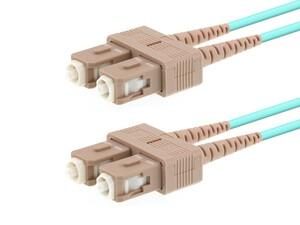 Picture of 30m Multimode Duplex Fiber Optic Patch Cable (50/125) OM3 Aqua - Laser Opt - SC to SC