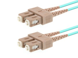 Picture of 45m Multimode Duplex Fiber Optic Patch Cable (50/125) OM3 Aqua - Laser Opt - SC to SC