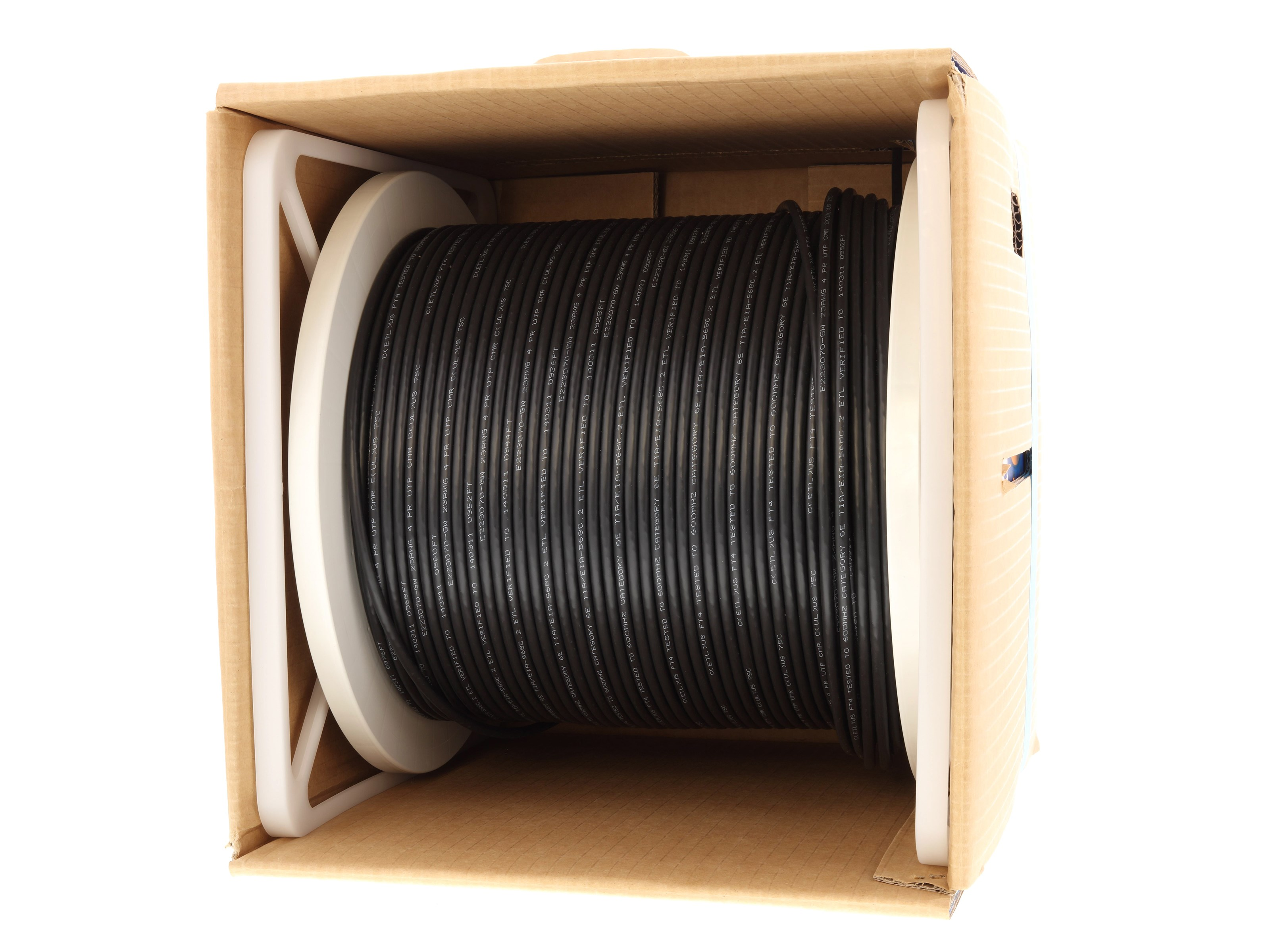 Vextra VC6AS Black Cat 6A Shielded CMR Black 1000 ft Easy Pull Box