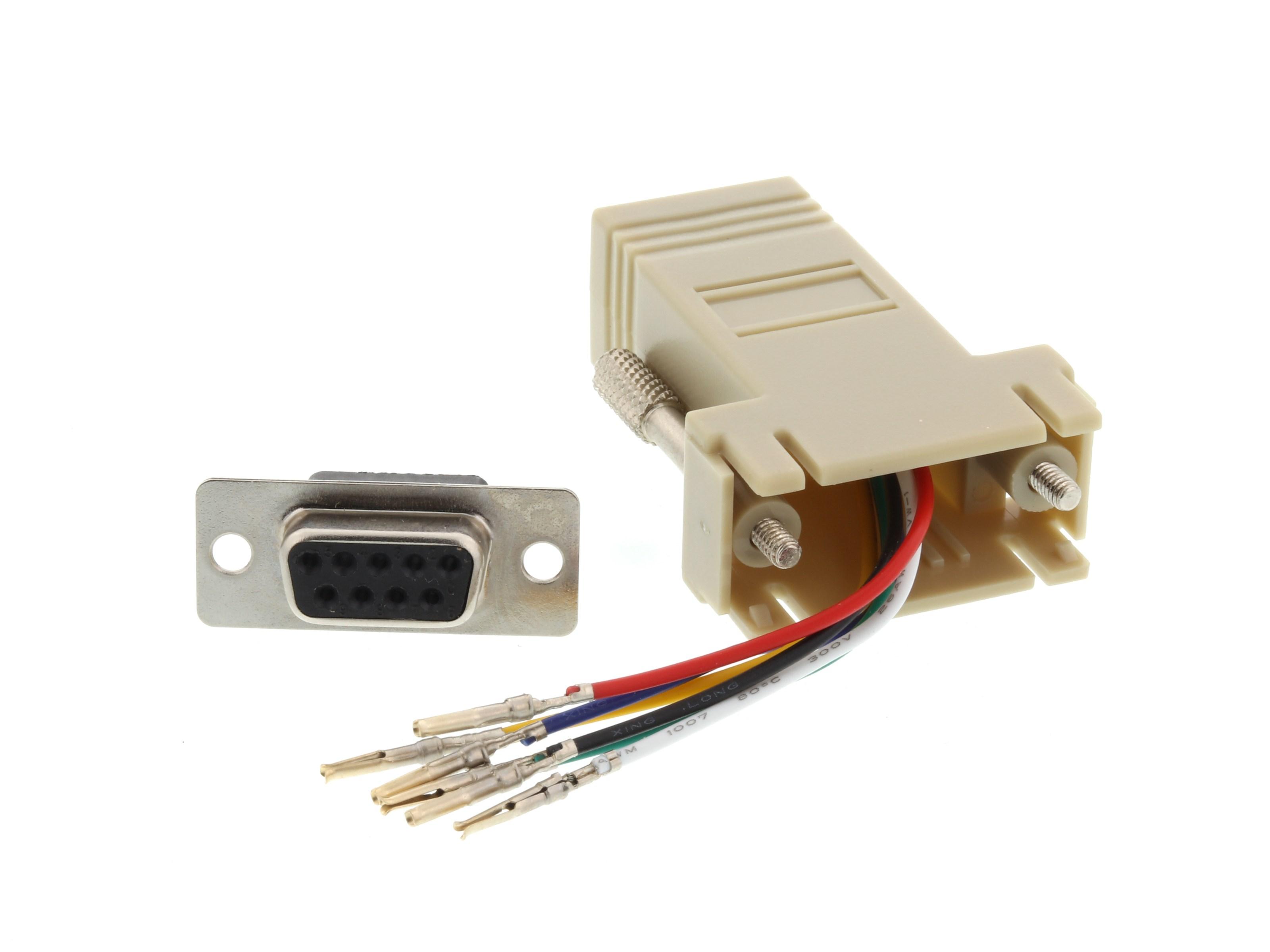 modular adapter kit db9 female to rj11 rj12 beige. Black Bedroom Furniture Sets. Home Design Ideas