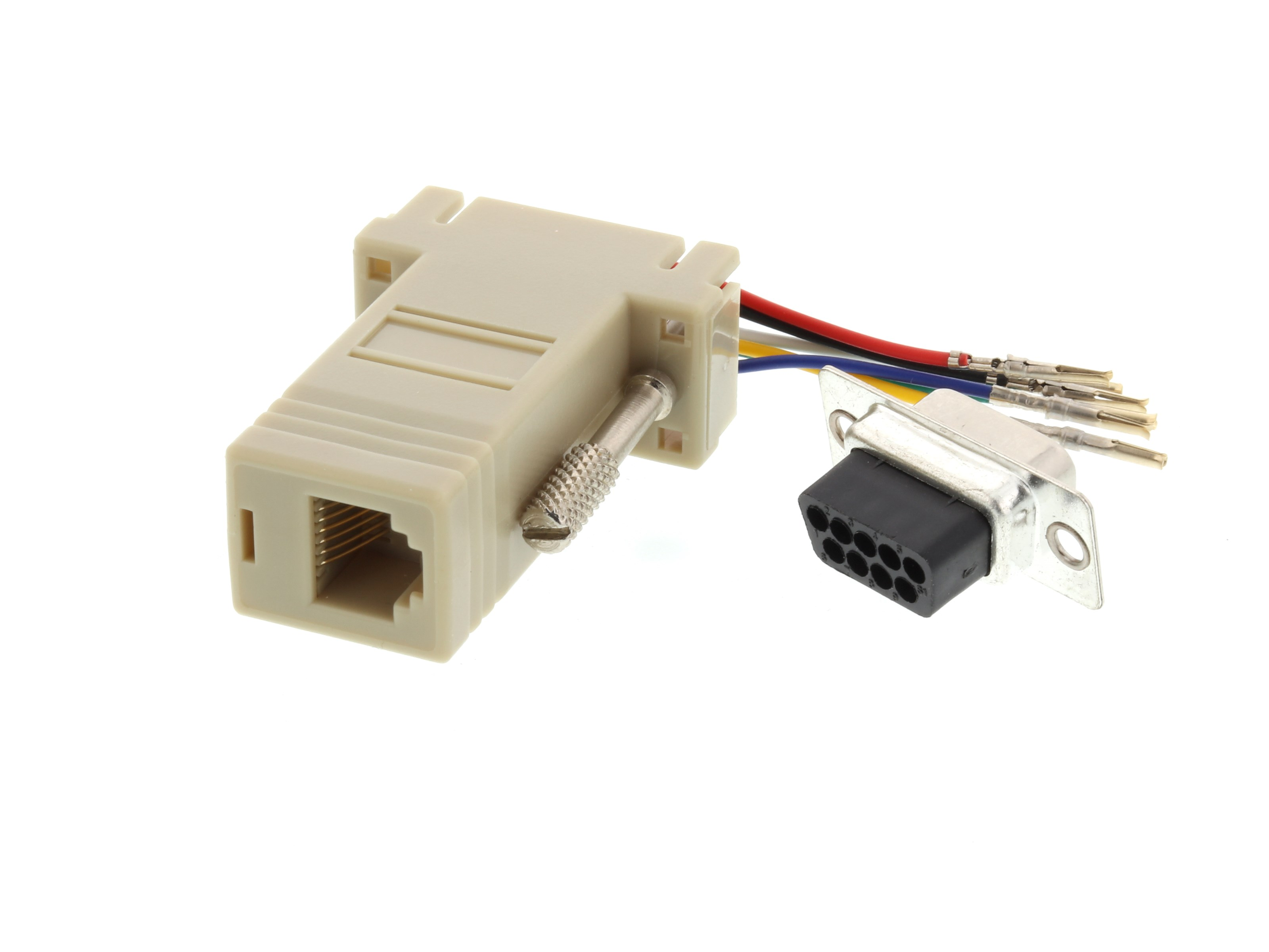 picture of modular adapter kit - db9 female to rj11 / rj12 - beige