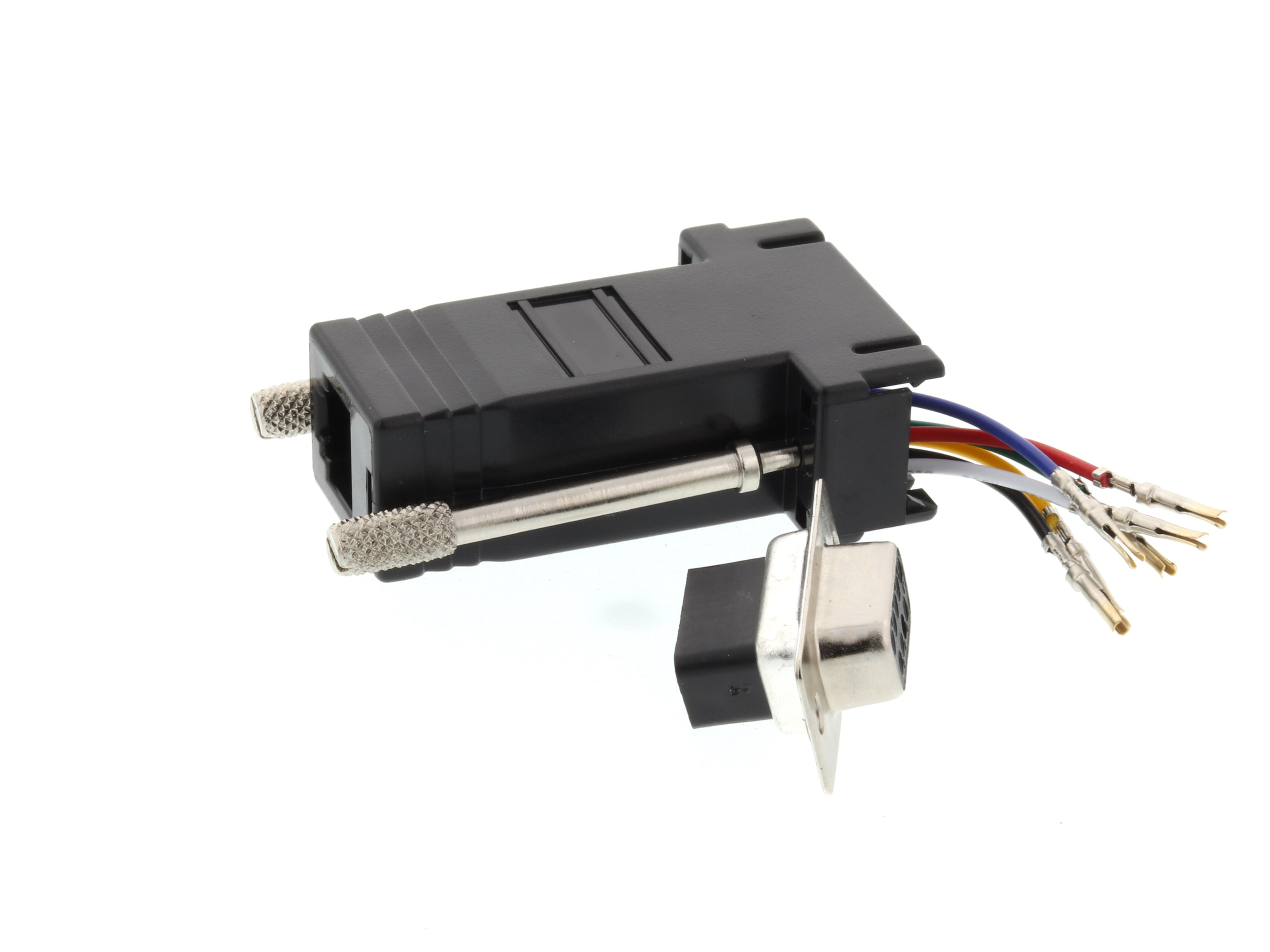 modular adapter kit db9 female to rj11 rj12 black. Black Bedroom Furniture Sets. Home Design Ideas