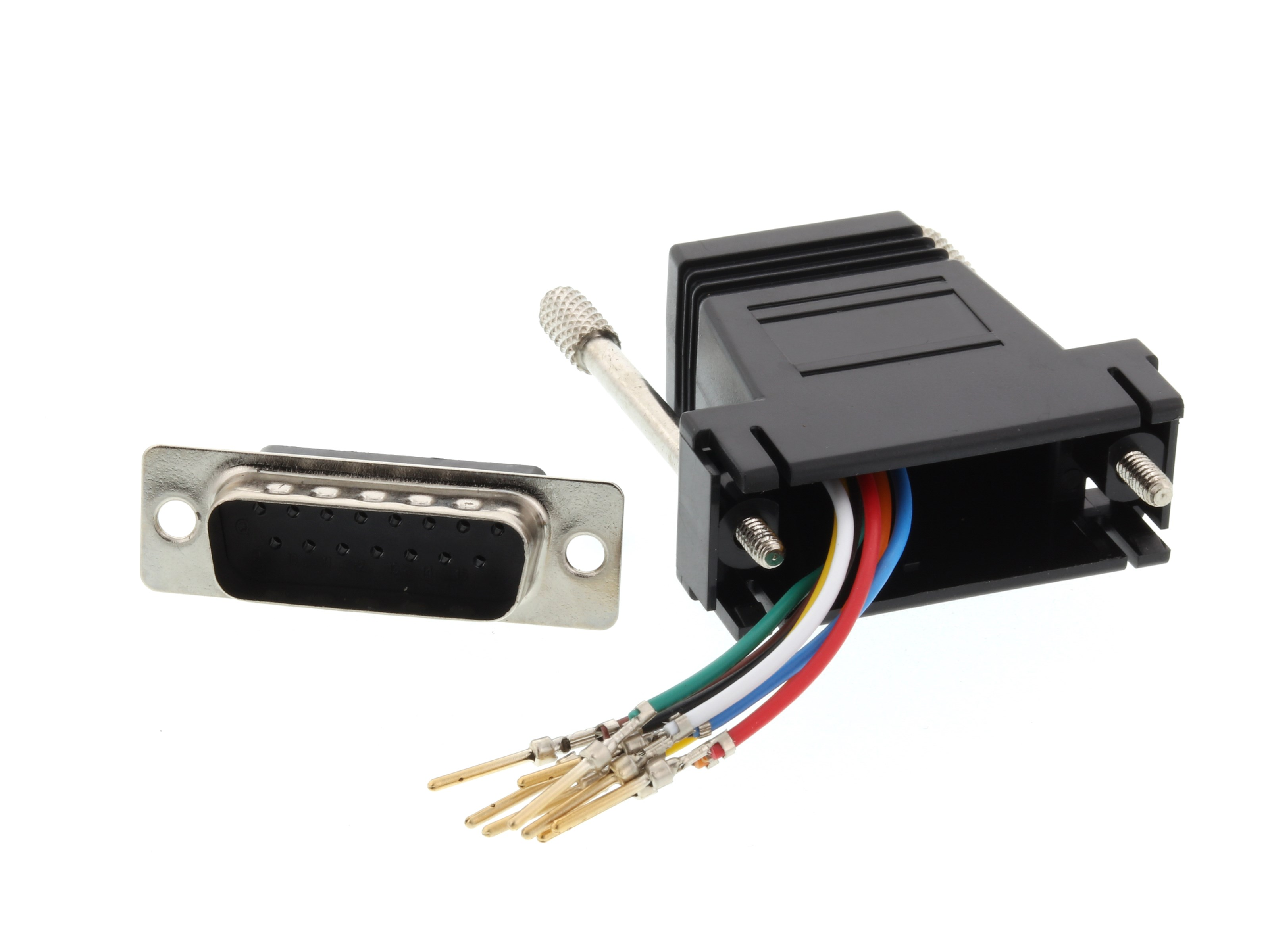 modular adapter kit db15 male to rj45 black computer cable store rh computercablestore com RJ45 Cable RJ45 Color Code
