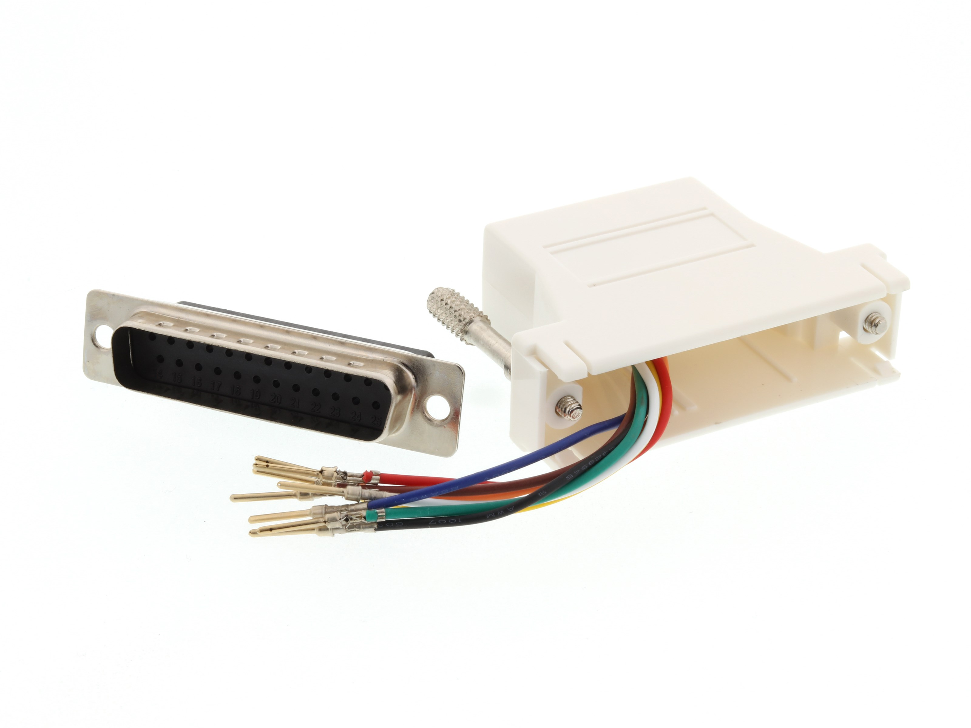 DB25 Male to RJ45 Female Modular Adapter Kit 2 8 Conductor NEW