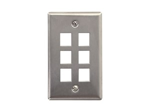 Picture of 6 Port Stainless Steel Keystone Faceplate