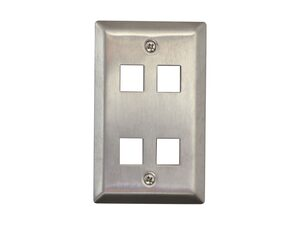Picture of 4 Port Stainless Steel Keystone Faceplate