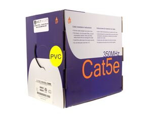 Picture of Cat5e 350Mhz Network Cable - Solid, Black, Riser (CMR) PVC - 1000 FT
