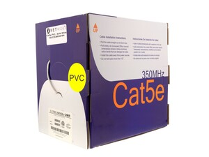 Picture of Cat5e 350Mhz Network Cable - Solid, White, Riser (CMR) PVC - 1000 FT